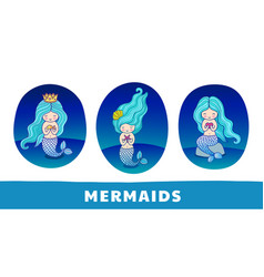 Collection of cute cartoon mermaids with blue vector