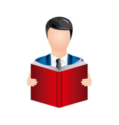 Color man to read a book icon vector