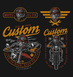 colorful vintage motorcycle designs set vector image