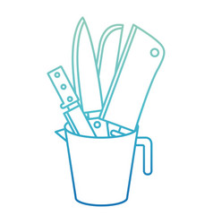 container with knives degraded blue color contour vector image