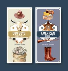 Cowboy flyer design with cow skull gun money vector
