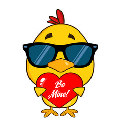 Cute yellow chick with sunglasses vector