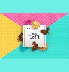 easter paper card of chocolate bunny and 3d eggs vector image