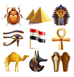 Egypt icons set vector