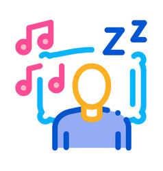 Fall asleep to music outline vector