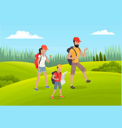 family active lifestyle summer travel time happy vector image
