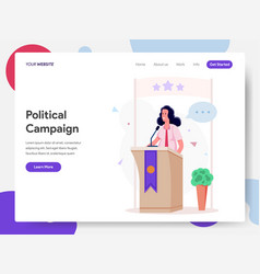 female politician campaign on podium vector image