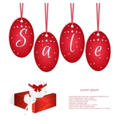 Festive card with red tags and the word sale two vector