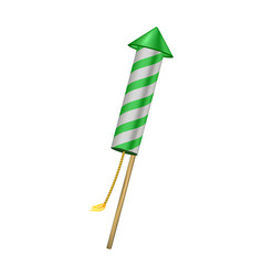 Firework rocket in green design with burning wick vector