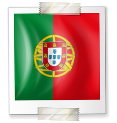 Flag of portugal on square paper vector