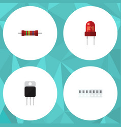 flat icon electronics set of recipient resistance vector image
