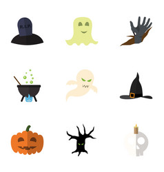 Flat icon halloween set of witch cap gourd tomb vector