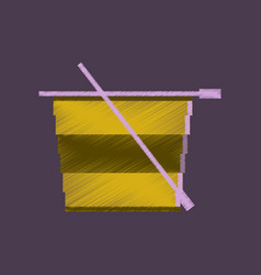 flat shading style icon pixel tea cup vector image