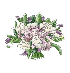 Floral wedding bouquet sketch for your design vector