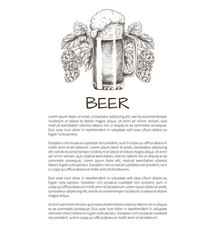 Foamy beer mug with hop plant monochrome poster vector