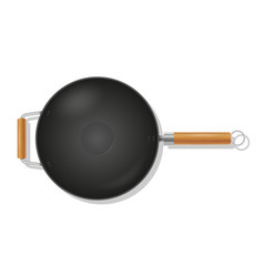 Frying pan wok for fry food on fire stock vector