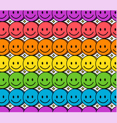 Funny smile cute rainbow face seamless pattern vector
