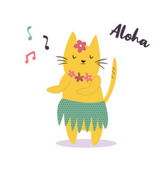 funny yellow hawaiian cat dancing to the music vector image