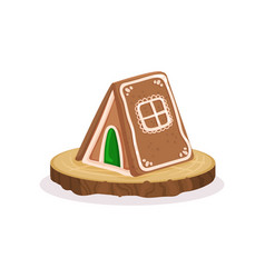 Gingerbread house traditional christmas dessert vector