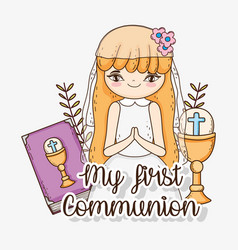 Girl first communion with bibble and chalice vector