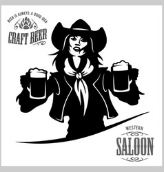 Girl with beer in a cowboy fashion vector