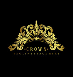 gold royal crown logo luxury design vector image