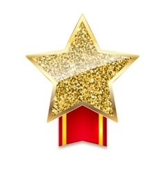 Golden star with gold sparkles and glitter on red vector