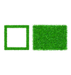 Green grass frame copy-space 3d set square vector