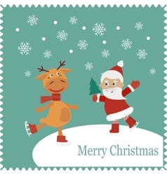 Greeting card with happy Santa and deer skates vector image