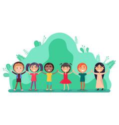 group children holding hands friendship vector image