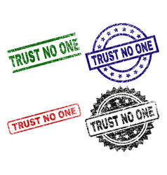 Grunge textured trust no one seal stamps vector