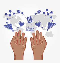 hands with social media set icons vector image