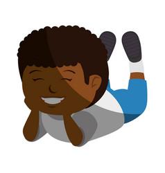 Happy little black boy character vector