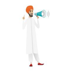 Hindu businessman talking into loudspeaker vector