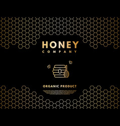 Honey logo with gold gradient honeybee beehive vector