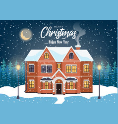 house in snowfall christmas greeting card winter vector image