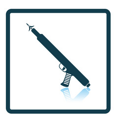 Icon of fishing speargun on gray background round vector