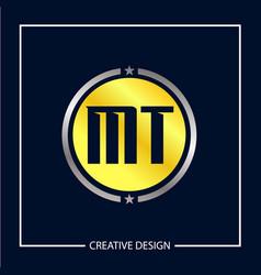Initial mt letter logo template design vector