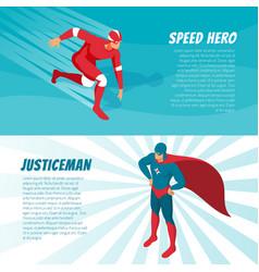 isometric superhero banners vector image