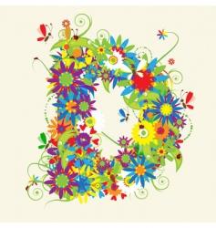 letter D floral design vector image