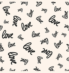 love seamless pattern black and white handwritten vector image