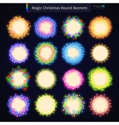 Magic Christmas Round Banners vector