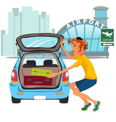 man takes luggage out of car and ready for travel vector image