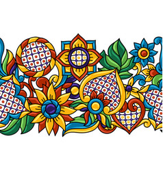 mexican talavera seamless pattern decorative vector image