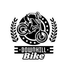 monochrome logo mountain bike racer downhill vector image