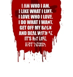 Motivation Quote for your design on red stain vector image