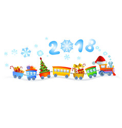 new year train vector image