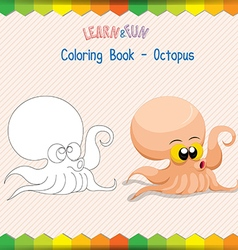 Octopus coloring book educational game vector image
