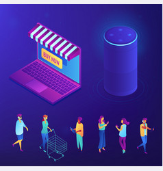 Online shopping and buying with smart speaker vector
