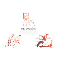 order of food online - ordering food from vector image